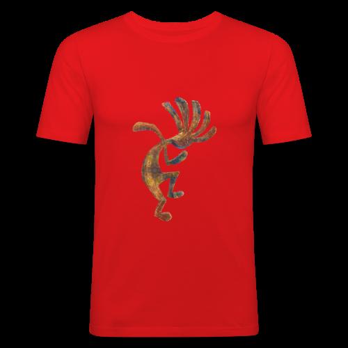 Cocopelli + ZW Schriftzug auf Rücken - Männer Slim Fit T-Shirt