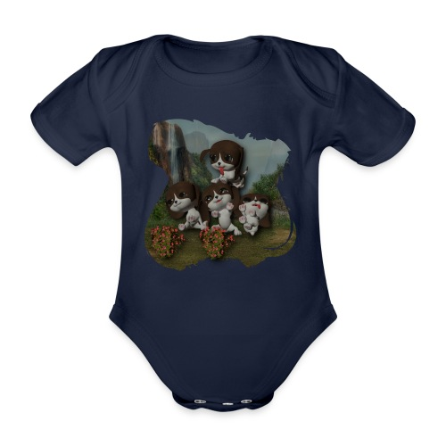 Vier spelende puppies - Organic Short-sleeved Baby Bodysuit