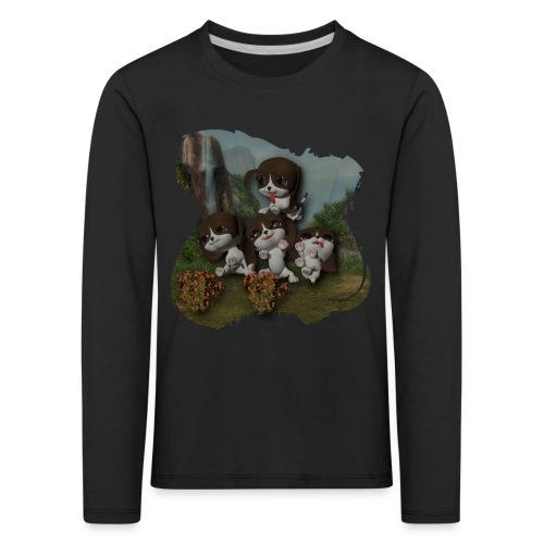 Kids' Premium Longsleeve Shirt - Vier buitenspelende puppies