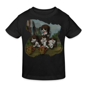 Vier spelende puppies - Kids' Organic T-shirt