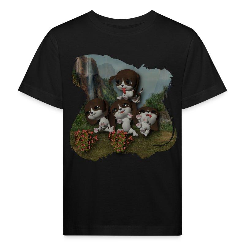 Vier spelende puppies - Kids' Organic T-shirt