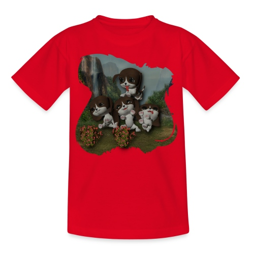 Vier spelende puppies - Kids' T-Shirt