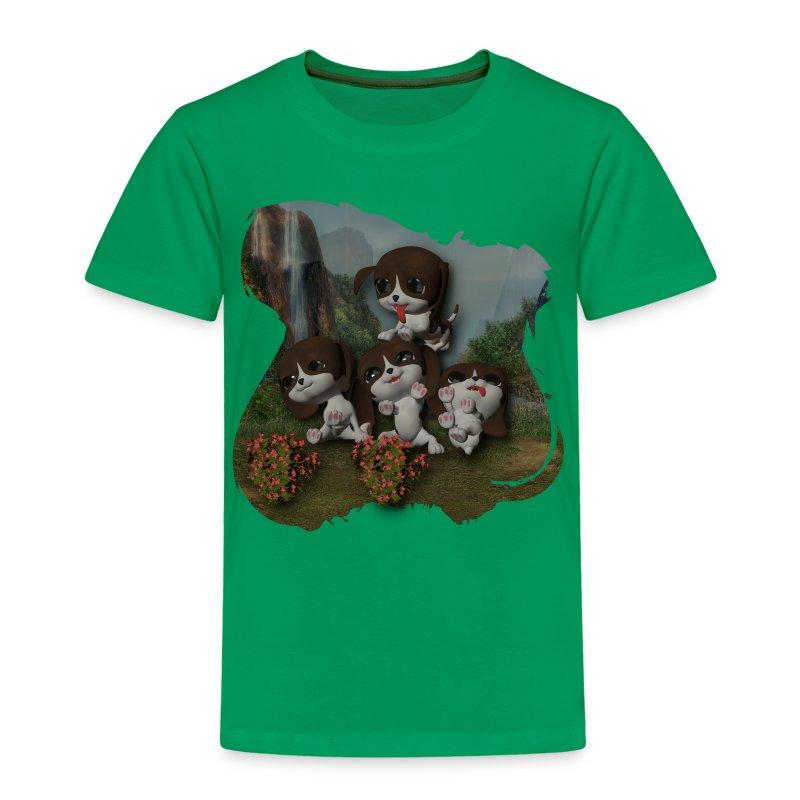 Vier spelende puppies - Kids' Premium T-Shirt