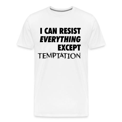 Men's Resist Temptation - Black on White - Men's Premium T-Shirt