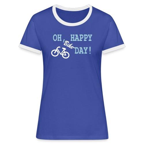 Kontrast T Shirt Damen: Oh Happy Bike Day - Frauen Kontrast-T-Shirt
