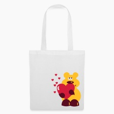 White cute comic bear with heart Bags