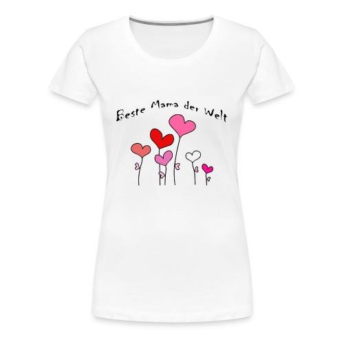 Beste Mama der Welt Herzblumen bunt - Frauen Premium T-Shirt