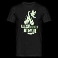 T-Shirts ~ Männer T-Shirt ~ Mens 'ALV + vegan', beidseitig GLOW