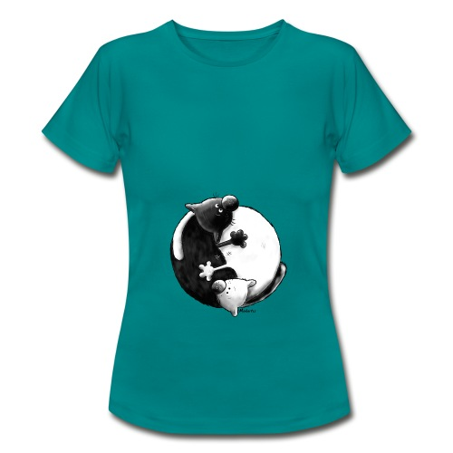 Yin Yang Cats Women T-Shirt greenish blue - Women's T-Shirt