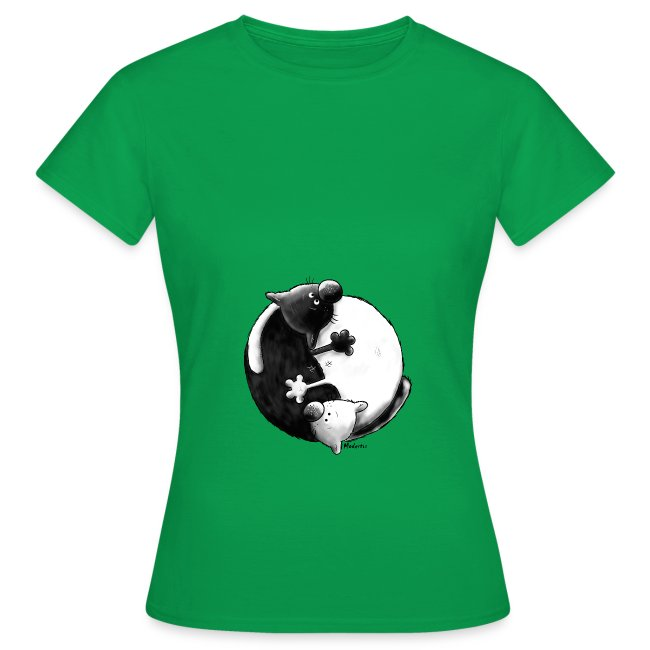 Yin Yang Cats Women T-Shirt greenish blue
