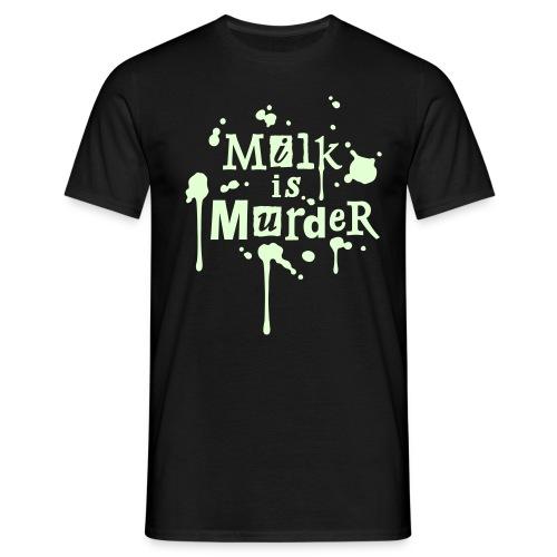 Mens 'Milk is Murder + vegan', beidseitig GLOW - Männer T-Shirt