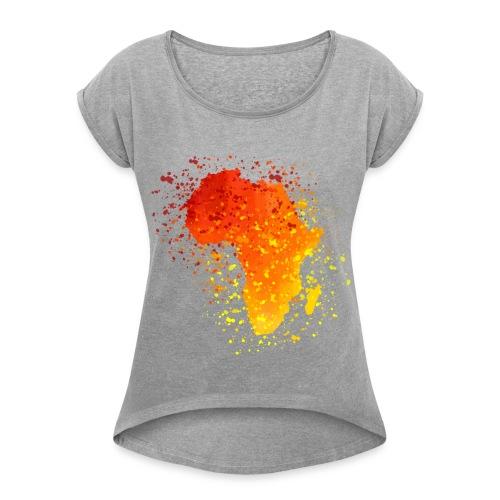 T-Shirt Afrika Karte  - Frauen T-Shirt mit gerollten Ärmeln