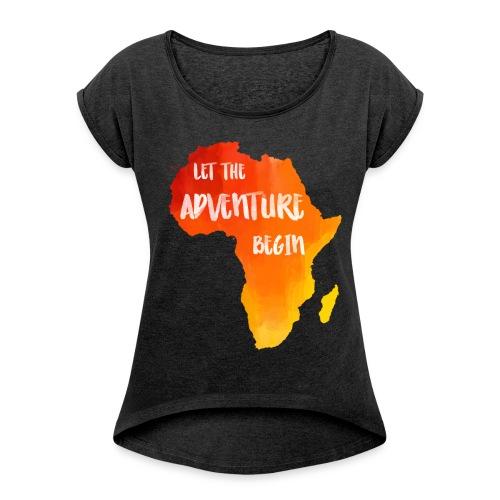 Shirt Afrika Karte - Frauen T-Shirt mit gerollten Ärmeln