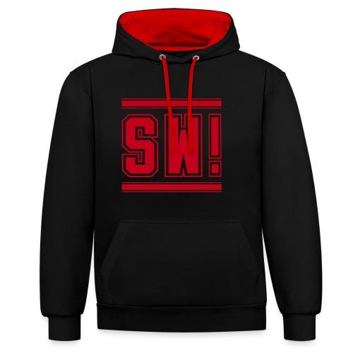 SUPER WANG!, Kontrast Hoodie, schwarz-rot, mit Logo SW!, rot, unisex - Kontrast-Hoodie
