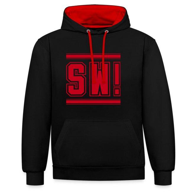 "SUPER WANG!, Kontrast Hoodie, schwarz-rot, mit Logo ""SW!"", rot, unisex"