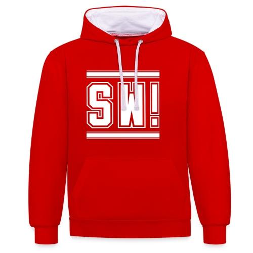 SUPER WANG!, Kontrast Hoodie, rot-weiß, mit Logo SW!, weiß, unisex - Kontrast-Hoodie