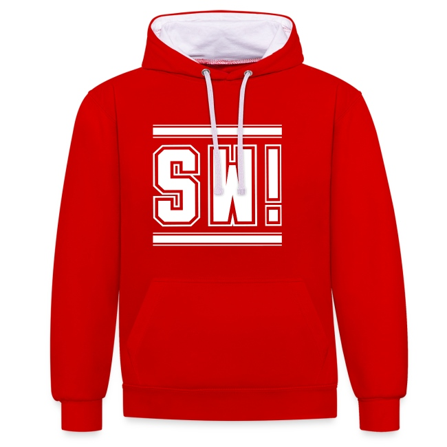 "SUPER WANG!, Kontrast Hoodie, rot-weiß, mit Logo ""SW!"", weiß, unisex"