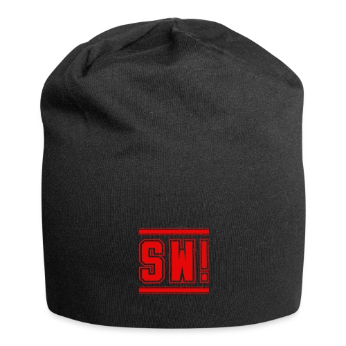 SUPER WANG! Beanie, Logo SW! groß, rot - Jersey-Beanie