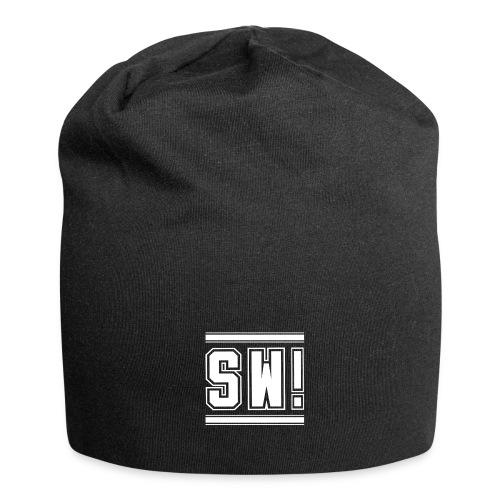 SUPER WANG! Beanie mit Logo SW! groß, weiß - Jersey-Beanie