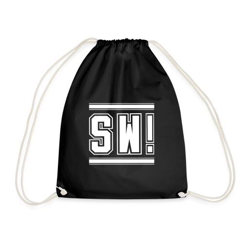 SUPER WANG! Beutel in schwarz, Logo SW!, weiß, groß - Turnbeutel