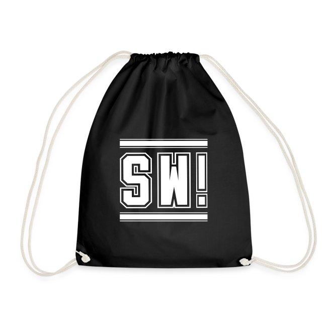 """SUPER WANG! Beutel in schwarz, Logo """"SW!"""", weiß, groß"""