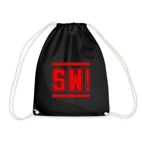 SUPER WANG! Beutel in schwarz, Logo SW!, rot - Turnbeutel