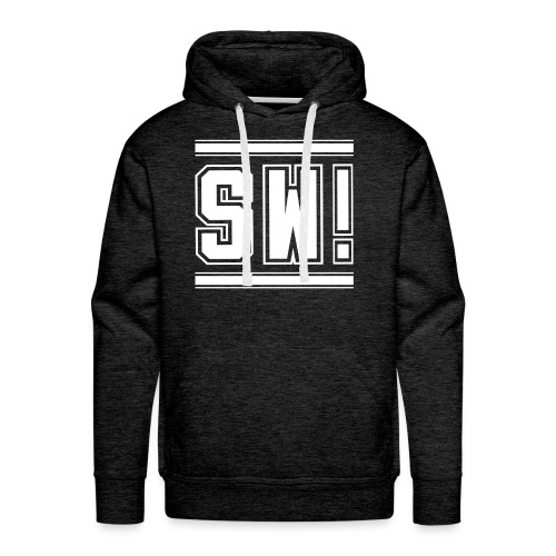 SUPER WANG!, Männer Premium Hoodie in grau, mit weißem Logo SW! - Männer Premium Hoodie