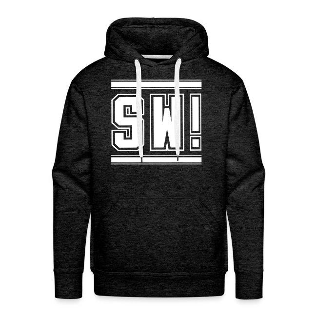 """SUPER WANG!, Männer Premium Hoodie in grau, mit weißem Logo """"SW!"""""""