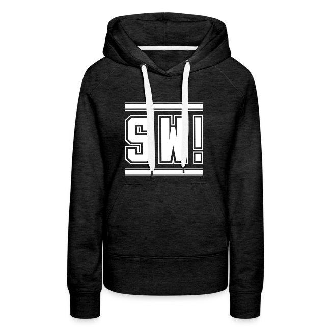 "SUPER WANG!, Frauen Premium Hoodie in grau, mit weißem Logo ""SW!"""