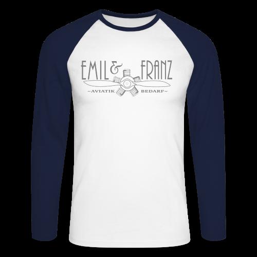 Emil & Franz Emblem (Langärmeliges Leiberl in Weiß/Blau) - Männer Baseballshirt langarm