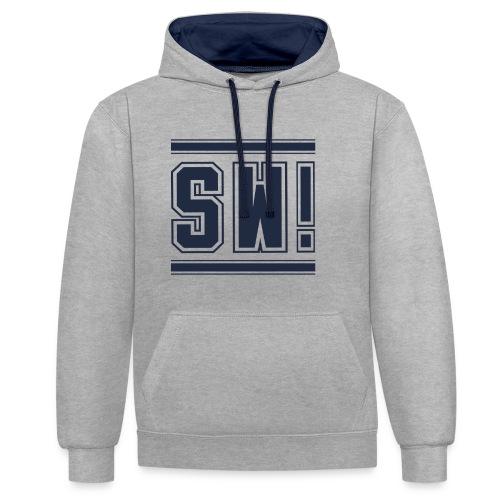 SUPER WANG!, Kontrast Hoodie, grau-blau, mit Logo SW!, blau, unisex - Kontrast-Hoodie