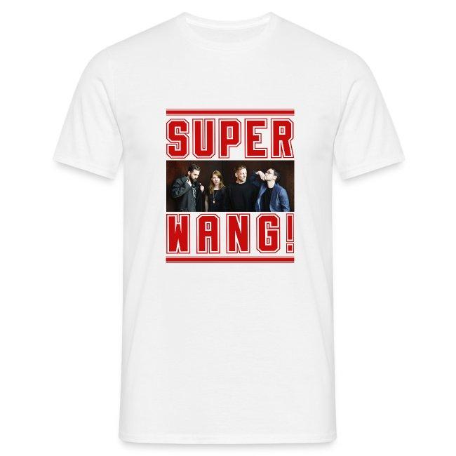 SUPER WANG! weißes Herren-T-Shirt mit Bandfoto und Logo