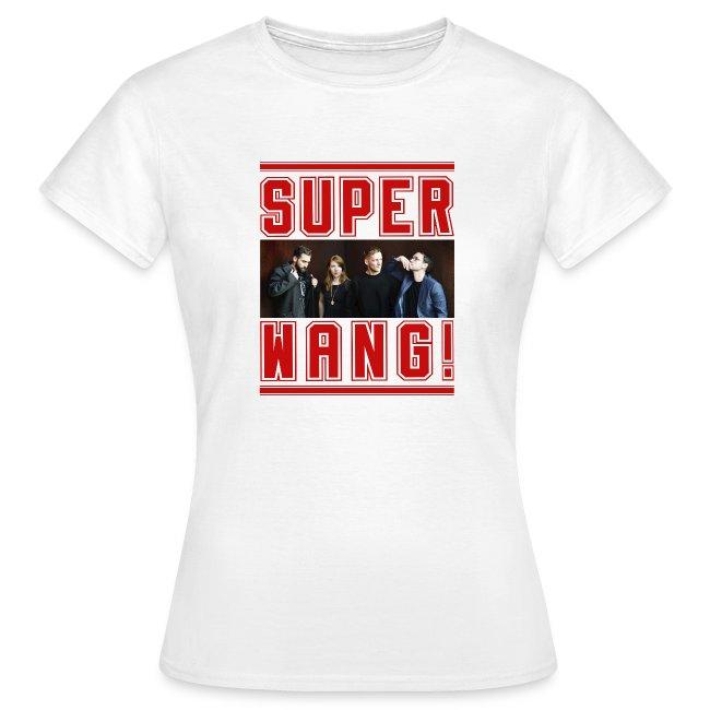 SUPER WANG! weißes Damen-T-Shirt mit Bandfoto und Logo