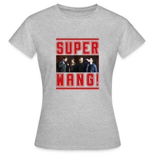 SUPER WANG! graues Damen-T-Shirt mit Bandfoto und Logo - Frauen T-Shirt