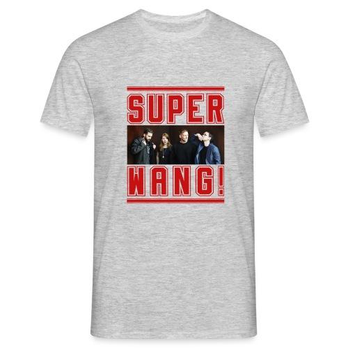 SUPER WANG! graues Herren-T-Shirt mit Bandfoto und Logo - Männer T-Shirt