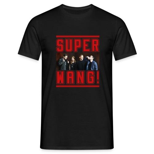 SUPER WANG! schwarzes Herren-T-Shirt mit Bandfoto und Logo - Männer T-Shirt