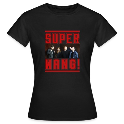 SUPER WANG! schwarzes Damen-T-Shirt mit Bandfoto und Logo - Frauen T-Shirt