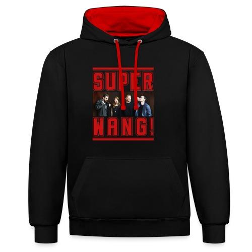 SUPER WANG!, Kontrast Hoodie, schwarz-rot, mit Bandfoto und Logo, unisex  - Kontrast-Hoodie