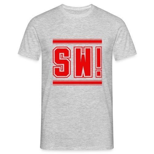 SUPER WANG! T-Shirt für Männer, rotes Logo SW! - Männer T-Shirt