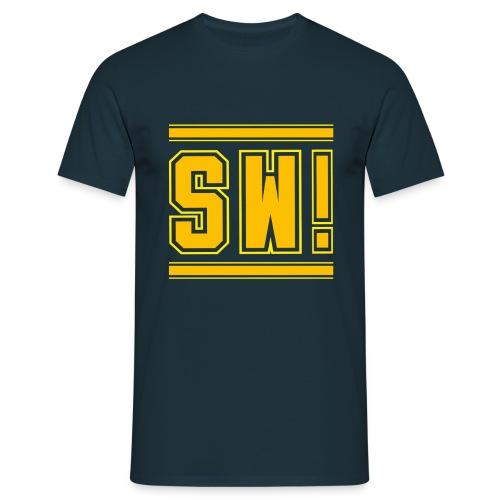 SUPER WANG!, blaues T-Shirt für Männer, gelb-orangenes Logo SW! - Männer T-Shirt