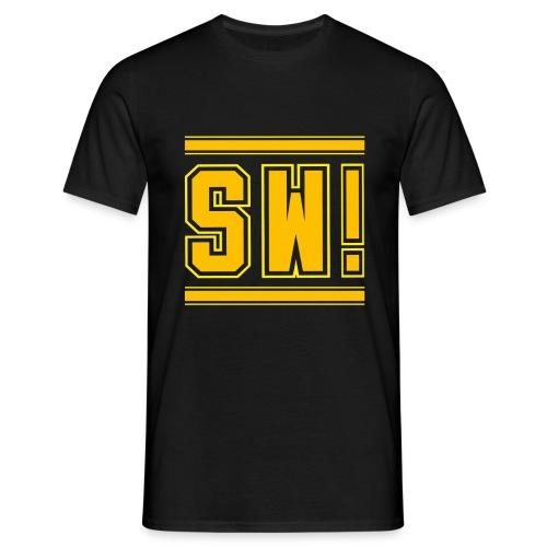 SUPER WANG!, schwarzes T-Shirt für Männer, gelb-orangenes Logo SW! - Männer T-Shirt