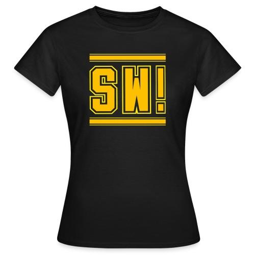 SUPER WANG!, schwarzes T-Shirt für Frauen, gelb-orangenes Logo SW! - Frauen T-Shirt