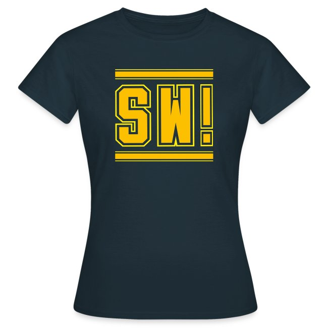 """SUPER WANG!, blaues T-Shirt für Frauen, gelb-orangenes Logo """"SW!"""""""