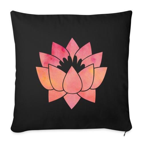 coussin noir lotus - Housse de coussin décorative 44x 44cm