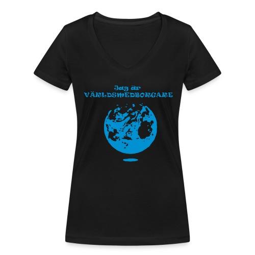 Jag är världmedborgare - Ekologisk T-shirt med V-ringning dam från Stanley & Stella