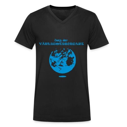 Jag är världmedborgare - Ekologisk T-shirt med V-ringning herr från Stanley & Stella