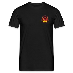 Black shirt, small colour logo - Men's T-Shirt