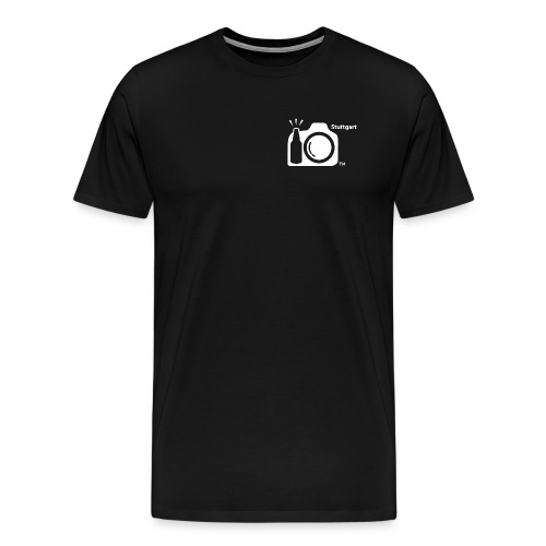 Mens White Logo Stuttgart -  ISO Thirsty on back.  - Men's Premium T-Shirt