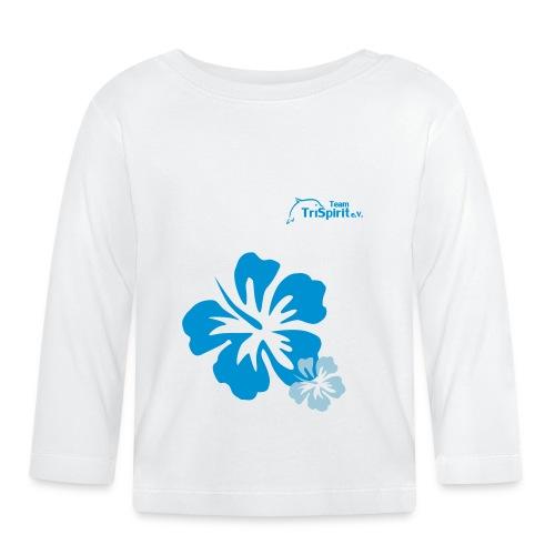 Leni Blumen2 Shirt langarm blaues Logo - Baby Langarmshirt