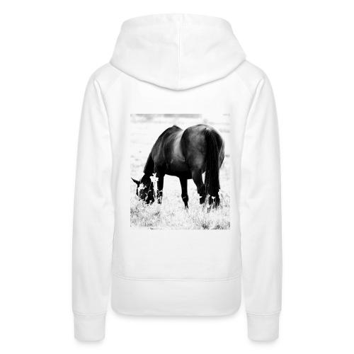 Hettegenser med hest-bilde bak,og tekst på brystet. - Premium hettegenser for kvinner